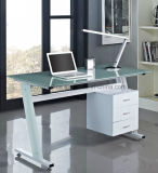 Zeitgenössisches Z Shaped 3 Drawers Home Office Computer Desk Black oder White mit Glass Top