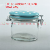 do armazenamento de vidro do frasco do alimento da gravura 600ml frasco de vidro com a tampa de vidro do selo