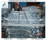 Foldable & Stackable Galvanized Wire Mesh Container para Warehouse Storage