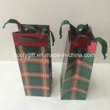 Le modèle UV personnalisent le sac d'emballage de cadeau de papier de bouteille de vin d'impression
