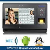 sistema biométrico Android do controle de acesso do pulso de disparo do comparecimento do tempo da impressão digital de 3G RFID com de '' tela toque 7