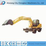Cavador usado construcción del excavador de la rueda mini con las piezas del excavador