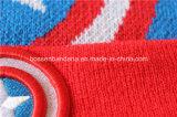 Chapeau tricoté acrylique adapté aux besoins du client de Beanie de pli de Snowboard noir de sports brodé par logo