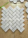 Azulejo Waterjet de mármol gris mezclado de la pared del suelo del mosaico blanco Polished de Carrara