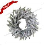 da grinalda artificial quente do Sell de 30-48cm grinalda decorativa plástica do Natal de Wreathmetal com neve