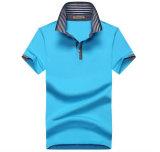 T-shirt simple de polo de Spandex du coton 3 de la coutume 180GSM 97 de tissu du Jersey de broderie du 3D des hommes