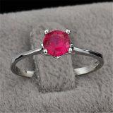 Elegant Solid Silver. 925 Ruby Halo Ring