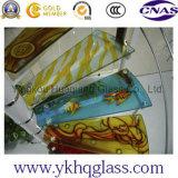 L'impression enduite a peint l'art en verre roulé modelé de guichet de porte de choc de peinture de configuration de bulle stratifié par construction Tempered décoratif
