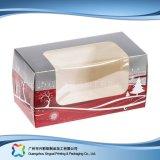 Rectángulo de torta de empaquetado de papel de la cartulina de la Navidad con la ventana (xc-fbk-048)