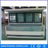 Congelador inferior del pecho de la puerta de vidrio de desplazamiento del oscilación del refrigerador de cristal superior de la puerta