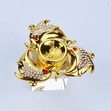 Brinquedo do girador do diamante da inquietação da mão de três peixes do ouro