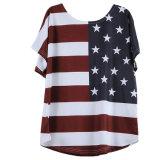 米国は印刷された特大ブラウスの上のTシャツにフラグを付ける