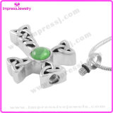 Collar conmemorativo de la cremación del acero inoxidable de la joyería 316L de la urna del recuerdo del collar pendiente cruzado (IJD9325)