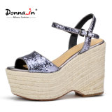 2017 het Toevallige Kabel Platform Sandals van Dame Glitter High Heels Women