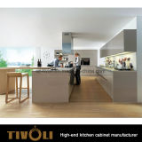 Governi di parete bianchi della lacca con i Governi bassi impiallacciati per il nuovo disegno 2017 Tivo-0209h della cucina