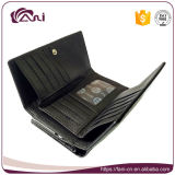 La piccola frizione nera del metallo di nuovo disegno incornicia la borsa per le signore, raccoglitore del cuoio impresso