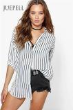 Lange Hülsen-Streifen-Gleichheit-Stulpe-Frauen-Bluse