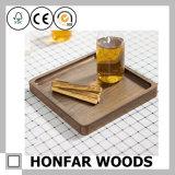 Ofício da madeira da bandeja da madeira contínua de noz preta do retângulo