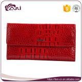 Borsa sottile lunga di colore rosso delle donne del cuoio genuino della pelle del coccodrillo