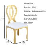 Moderner Entwurfs-Hotel-Rosen-Goldmetallmöbel-Kupfer-Stuhl mit PU-Kissen