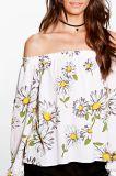Печать солнцецвета без бретелек с кофточки женщин плеча