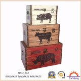 가정 가구 화포 인쇄 3 나무로 되는 트렁크의 나무로 되는 저장 선물 상자 세트