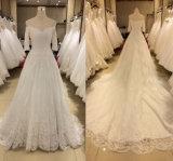2017 3/4 de vestido de casamento do laço da luva (trem da catedral)