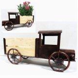 Dekorative Dekoration-Metall-LKW-Garten-Pflanzer-Fertigkeit mit hölzernem Wagen