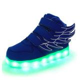 Zapatos de la luz de la escuela del cabrito de la PU del estilo del ala de Dubai