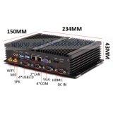 Industrieller Fanless Mini-PC Tischrechner Celeron 1037u mit Doppel-RJ45 und 4 Kanal COM-RS232