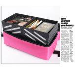 Bolso cosmético portable de Oxford de la manera con las bandejas