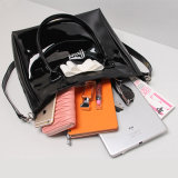 Black Waterproof PVC PU White Bow Shoulder Bag (23266)