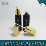frasco de perfume de vidro vazio da bomba da loção do preto 50ml escuro
