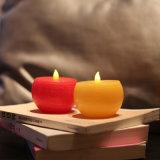 Vela sin llama redonda amarilla/roja de la luz del té del LED para el cumpleaños y la boda