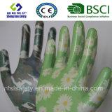 Gants estampés de jardin enduits par nitriles de gants de sûreté (GN901)
