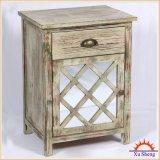 Weinlese-Art-Spiegel-Vorderseite-Schrank, 1door 1 Fach, seitlicher Tisch Nightstand