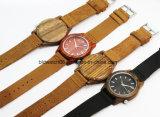 Dos relógios de pulso de madeira de couro da faixa dos homens do relógio do negócio venda quente