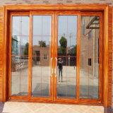 Portello scorrevole di vetro del metallo di sovrapposizione di alluminio francese commerciale del blocco per grafici per stanza interna
