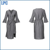 Vestido de moda de las señoras gris Oficina de Ployester con la correa de cintura