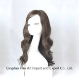 Peruca judaica brasileira do cabelo humano do Virgin com parte superior de seda