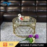Foshan-Edelstahl-Möbel-seitlicher Glastisch