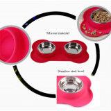 Sostenedor de la estera del soporte del tazón de fuente del animal doméstico con la tapa