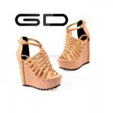 Кожа высокой пятки повелительниц планки способа Gdshoe римская заклинивает ботинки