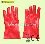 セリウムの証明書(PVC手袋27cm)が付いている赤いPVC産業作業手袋
