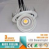 iluminación comercial del tronco del cardán 50W de la dimensión de una variable de Downlight LED de la luz giratoria del departamento