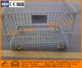 Recipiente de armazenamento Stackable do engranzamento de fio do metal com tampa superior