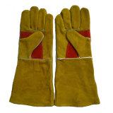 Золотистые сверхмощные кожаный перчатки заварки предохранения от руки