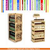 Стеллаж для выставки товаров вина супермаркета деревянный