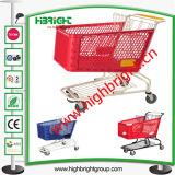Carro de compra plástico da cesta dobro para o mercado Hyper