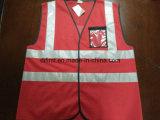 Tela 100%Polyester de confeção de malhas vermelha da veste da segurança com bolso da identificação